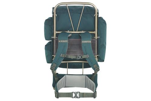 Kelty Sanitas 34 external frame backpack, green, rear view, showing aluminum frame, padded shoulder straps and waist belt