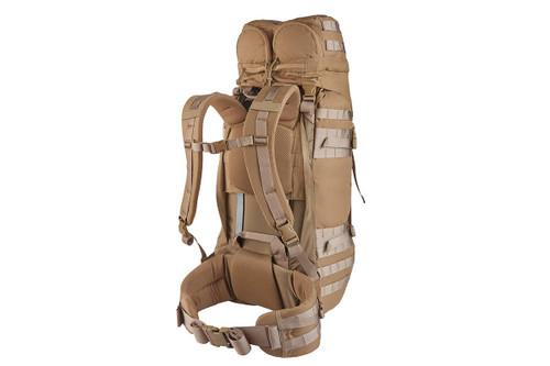 Kelty Falcon 4000 USA backpack, Canyon Brown, alternate rear view showing padded shoulder straps and waistbelt