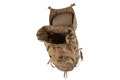 Kelty Falcon 4000 USA backpack, Canyon Brown, top view, opened to show interior of pack