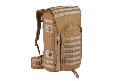 Kelty Falcon 4000 USA backpack, Canyon Brown, with lid unpacked