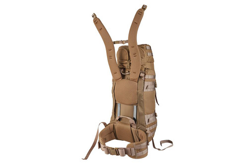 Kelty Falcon 4000 USA backpack, Canyon Brown, rear view showing padded shoulder straps detached from the body of pack