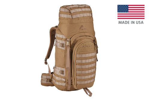 Kelty Falcon 4000 USA backpack, Canyon Brown, with lid fully packed