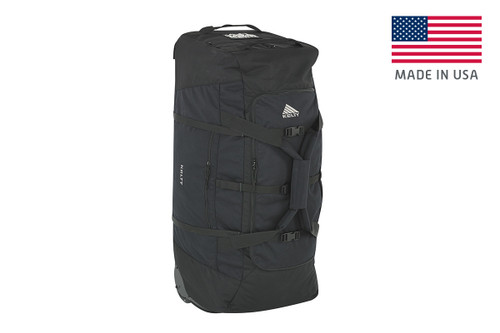 Black - Kelty BRT USA rolling trunk, standing on its end, 3/4 view