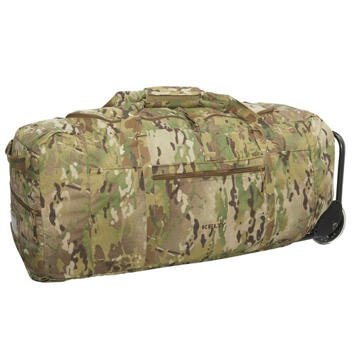 Kelty BRT USA rolling trunk, multicam colorway, 3/4 view