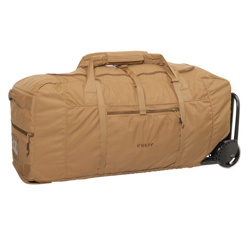 Kelty BRT USA rolling trunk, Coyote Brown colorway, 3/4 view