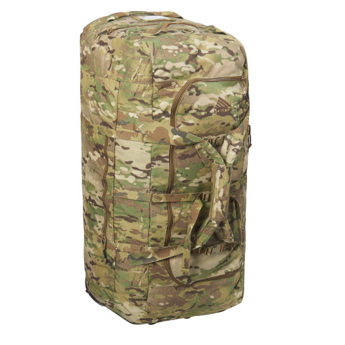 Multicam - Kelty BRT USA rolling trunk, standing on its end, 3/4 view