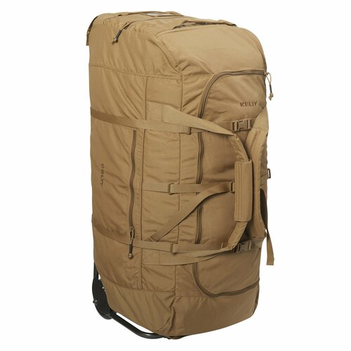 Coyote Brown - Kelty BRT USA rolling trunk, standing on its end, 3/4 view