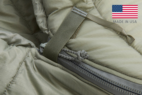 Close up of Kelty VariCom Gamma USA  sleeping bag, showing how top of zipper is secured with a strip of hook and loop fabric