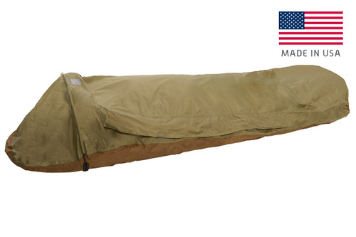 Kelty VariCom Bivy USA, Coyote Brown, shown fully zipped