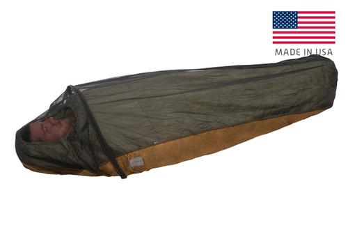 Kelty VariCom No Fly Zone USA bivy, fully zipped, with man inside