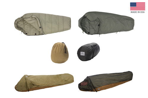 Collage of all components of the Kelty VariCom Complete AFSOC System USA: Delta 30° Sleeping Bag, Gamma 0° Sleeping Bag, VariCom Bivy, No Fly Zone, Compression Stuff Sack (Small), and Compression Stuff Sack (Large)