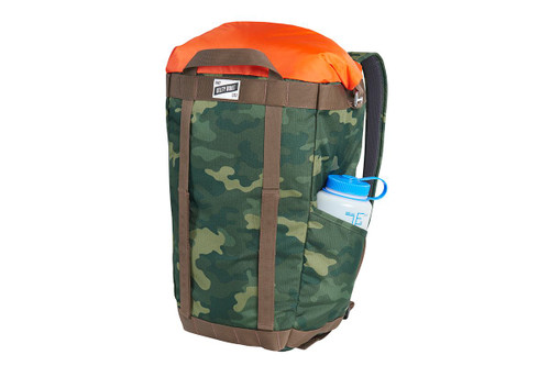 Kelty Hyphen Pack-Tote, Green Camo, front view, in backpack mode, with 32 oz. water bottle in side pocket