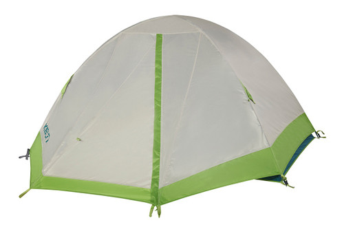 Kelty Outback 2 tent, white/green, shown with rain fly attached and fully closed