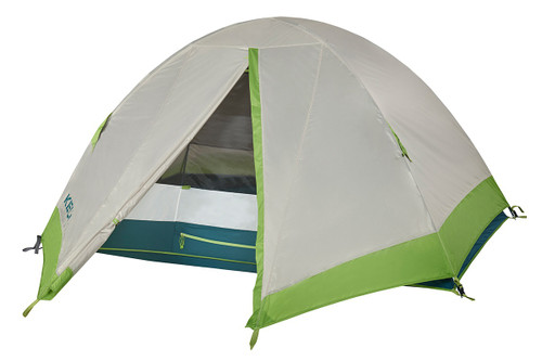 Kelty Outback 2 tent, white/green, shown with rain fly attached and partially opened