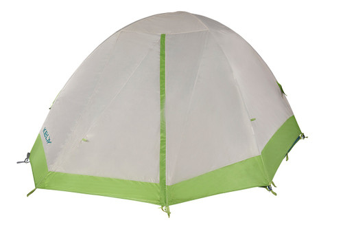 Kelty Outback 4 person tent, white/green, shown with rain fly attached and fully closed