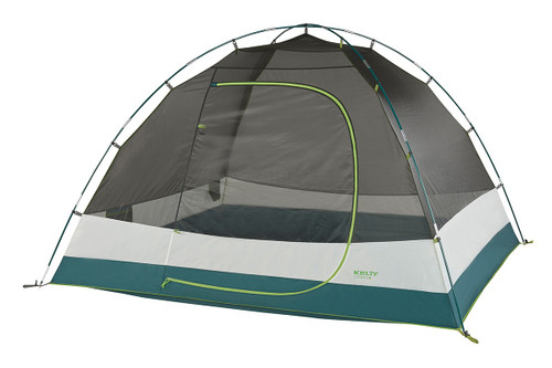 Kelty Outback 4 person tent, white/green, shown with rain fly removed