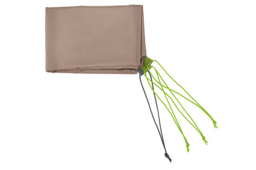 Kelty Outback 4 footprint, tan, with green and dark gray attachment points