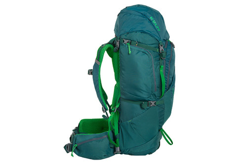 Kelty Coyote 65 backpack, Ponderosa Pine, side view, showing padded shoulder straps and waist belt