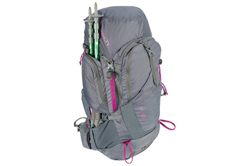Kelty Women's Coyote 60 backpack, gray, side view, with trekking poles packed behind side pocket
