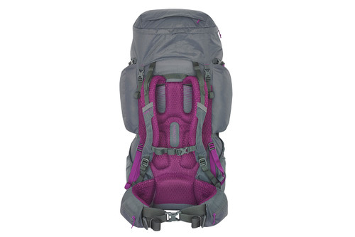 Kelty Women's Coyote 60 backpack, gray, rear view, showing padded shoulder straps and waist belt