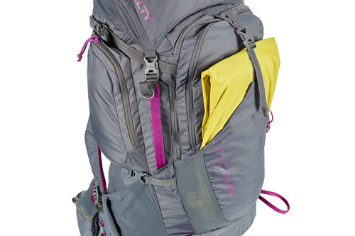 Kelty Women's Coyote 60 backpack, with yellow rain jacket stored in front pocket