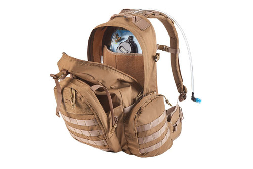 Strike 2300 backpack, Coyote Brown, with pack opened to show internal storage compartments