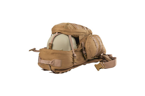 Strike 2300 backpack, Coyote Brown, showing how helmet can be stored between the front pocket and the main body of pack