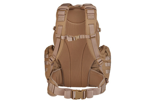 Strike 2300 backpack, Coyote Brown, rear view, showing padded shoulder straps and waist belt