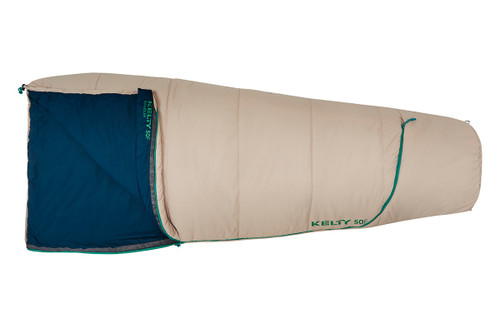 Sand - Kelty Rambler 50 sleeping bag, shown fully closed