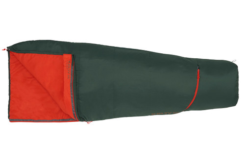 Forest Green - Kelty Rambler 50 sleeping bag, shown fully closed