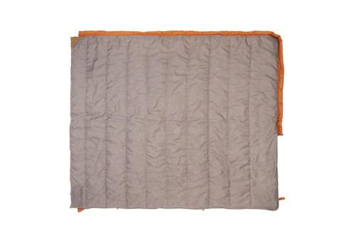 Kelty Callisto 30 sleeping bag, orange, fully opened to show tan interior