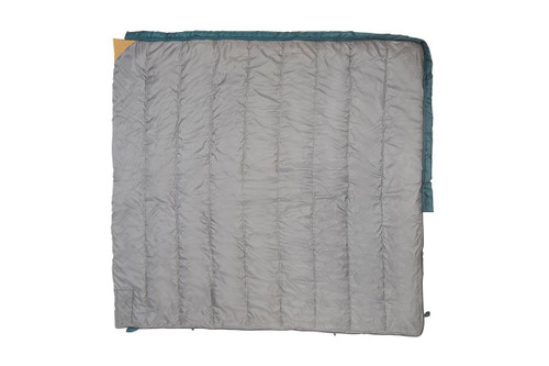 Kelty Callisto 30 sleeping bag, green, fully opened to show gray interior