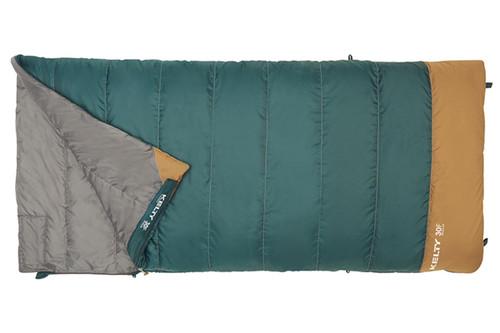 Kelty Callisto 30 sleeping bag, green, opened quarter length to show gray interior