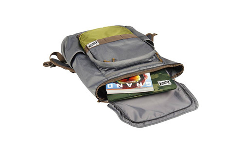 Kelty Ardent backpack, Castle Rock colorway, lying down and opened, showing how top flap unzips to open main compartment