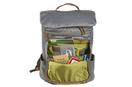 Kelty Ardent backpack, Castle Rock colorway, with front compartment opened, showing multiple storage pockets for pens and other small items