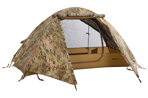 Kelty 1 Man Field Tent Multicam with rain fly attached and opened