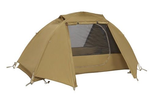Kelty 2 Man Field Tent Coyote Brown with rain fly attached and opened