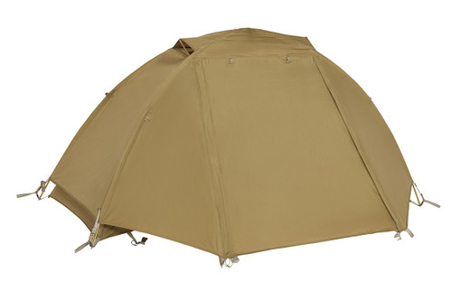 Kelty 2 Man Field Tent Coyote Brown with rain fly attached and closed