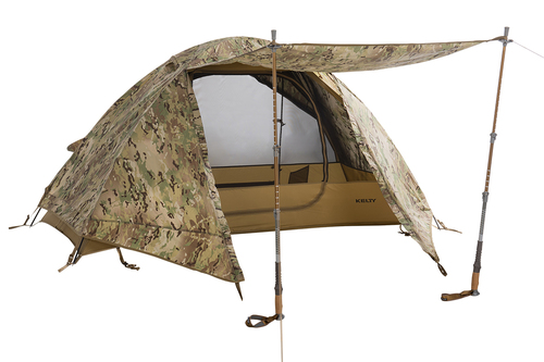 Kelty 2 Man Field Tent Multicam with rain fly attached and awning deployed with trekking poles