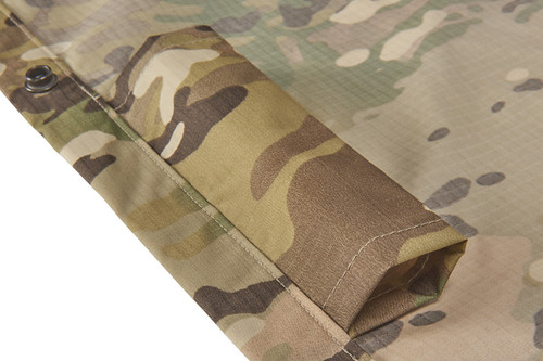 Close up of Kelty Field Craft Poncho FR, showing sleeves for litter poles