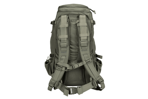 Kelty Redwing 30 Tactical, gray, rear view, showing padded shoulder straps and waist belt