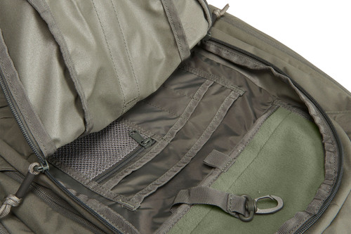 Close up of Kelty Redwing 30 Tactical, with front compartment unzipped to show multiple interior storage pockets