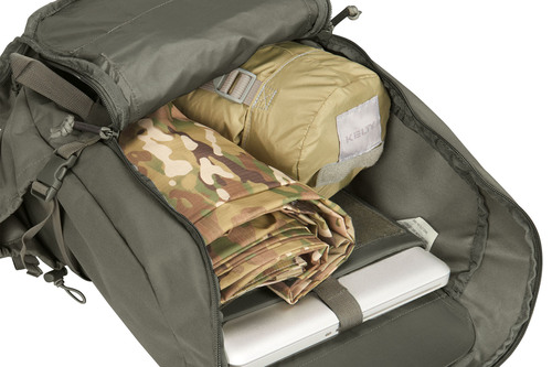 Kelty Redwing 30 Tactical, gray, showing main compartment unzipped, with laptop, tarp and other gear inside