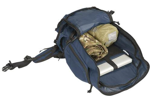 Kelty Redwing 44 Tactical backpack, Navy, with main compartment unzipped to show laptop, poncho, and other gear stored inside