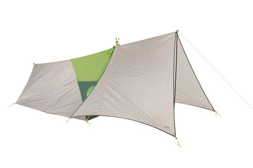 Kelty Rover Tent and Tarp Combo, green, shown with tan tarp attached to front of tent