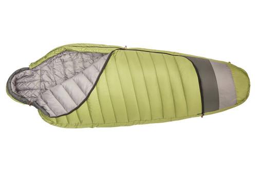 Kelty Tuck 20 Degree Sleeping Bag, lime green/gray, unzipped quarter length to show gray interior fabric