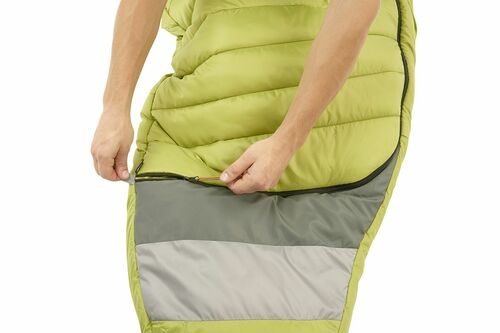 Close up of Kelty Tuck 20 Degree Sleeping Bag, showing how the zipper extends all the way across the bottom quarter of bag