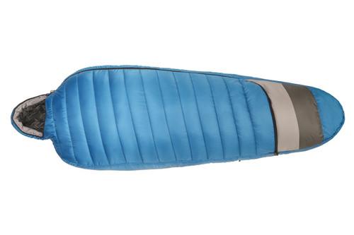 Kelty Tuck 40 Degree Sleeping Bag, blue/gray, shown fully zipped
