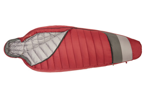 Kelty Women's Tuck 20 Degree Sleeping Bag, red, unzipped quarter length to show light gray interior fabric