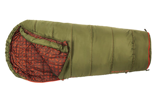 Kelty Boy's Big Dipper 30 sleeping bag, green, top view, opened,  in 'shortened' mode